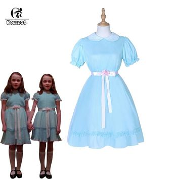 ROLECOS Halloween Costume The Shining Twins Cosplay Costume Blue Chiffon Lolita Dress for Women Horror Movie Sweet Girl Cosplay