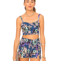 Motel Dixie Shorts and Josie Crop Pack in Sunshine Flower Navy