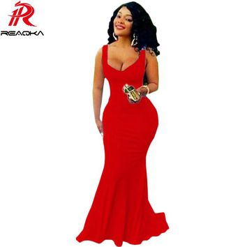 2016 New Arrival Dubai Europe Mermaid Dress Royal Prom Long Dress V Neck Floor Length Women Red Gowns Robe De Soiree Plus Size