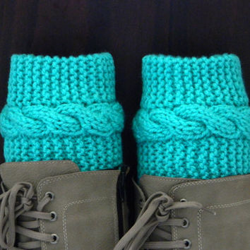 Neon mint,long Boot cuffs - Neon Green Leg Warmers - Cable knit boot toppers - Winter Fashion - Cozy legwarmers - Winter Acessory,Legwear