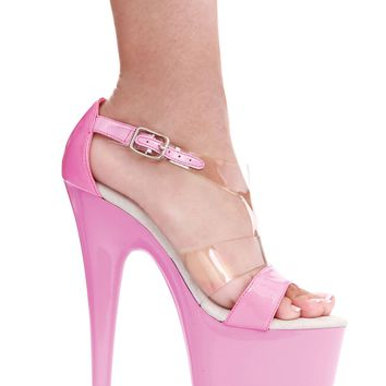 Ellie Shoes Kate 7 Inch Heel Clear T Strap Pointed Stiletto Sandal (9,Pink)