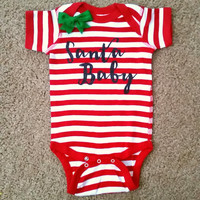 Santa Baby - Christmas Baby - Striped Onesuit - Girls Onesuit -  Body Suit - Glitter  - Onesuit - Ruffles with Love - Baby Clothing - RWL Kids