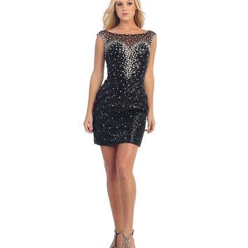 Black Sequin & Jewel Illusion Bodycon Dress 2015 Prom Dresses