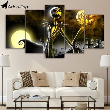 ArtSailing HD 5 panel Canvas Art nightmare before Christmas Poster Wall Halloween Posters Pictures artwork decor painting