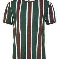 Green Stripe Slim Fit T-Shirt - Trending Now - New In