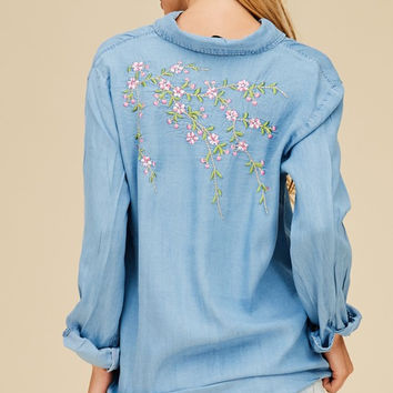 Tencel Flower Embo Shirt