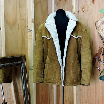 1970s Shanhouse mens corduroy car coat jacket / L 42 / 70s corduroy jacket / corduroy Sherpa / fleece lined jacket