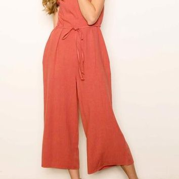 Elena Linen Jumpsuit in Rust