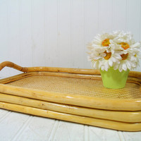 Solid Bamboo Wood Heavy Serving Tray with Handles - Large Vintage Rectangular Bamboo Frame Wicker Rattan Waitstaff, Bed, Vanity, Decor Tray