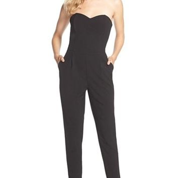 Women's Adelyn Rae Strapless Woven Jumpsuit,