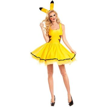 Ladies  Pikachu Costume Holiday Sexy Yellow Mini Dress Adult Hen Party Book Week Cosplay Fancy DressesKawaii Pokemon go  AT_89_9