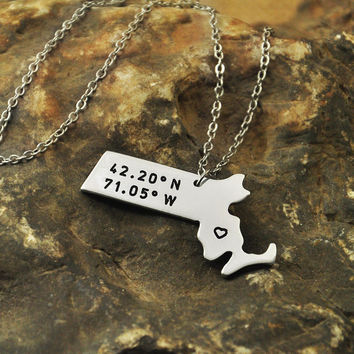 Massachusetts necklace Latitude Longitude Necklace Coordinate  925 sterling silver  necklace state necklace map necklace state charm