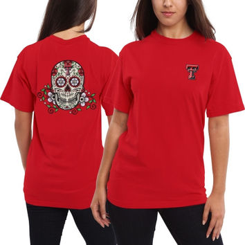 Texas Tech Red Raiders Women's Sugar Skull T-Shirt - Red