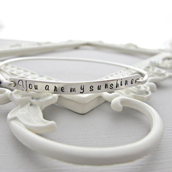 Personalized Bracelet, SILVER, Custom Quote Bracelet, Custom Quote Jewelry, Custom Word Jewelry, Custom Word Bracelet, You are my sunshine