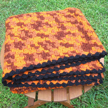 "Halloween decor - Vintage crochet afghan throw blanket in orange brown tan with black border - Fall autumn home decor 56"" x 51"""