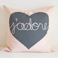 Heart Cushion j'adore by lovemaki on Etsy