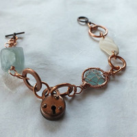 Aquamarine Sea Glass Bracelet with Copper, Sea Glass, natural sea shell, lock, washer  trendsetting, chunky steampunk style with beach glass