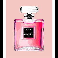 8 x 10 Wall Decor Print, Modern Home Decor-COCO Chanel Perfume Bottle Print