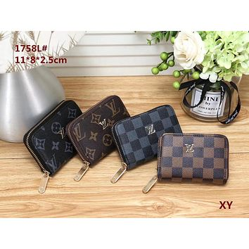 Louis Vuitton LV Fashion Leather Zipper Purse Wallet