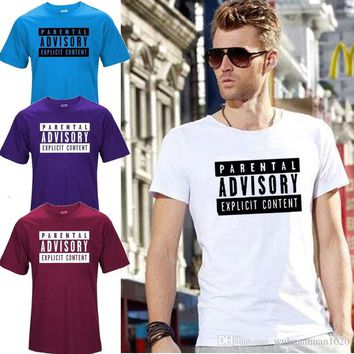 Top Quality Cotton Men Tshirt Parental Advisory Explicit Content Streetwear Mens T-shirt Free Delivery Men's Casual Short Sleeves Mens