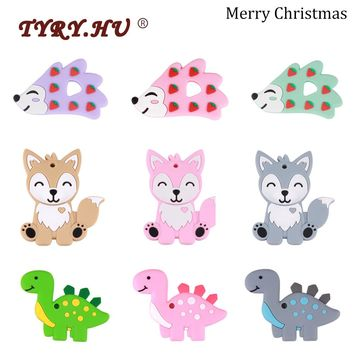 TYRY.HU 1pc Cartoon Dinosaur Teether Fox Silicone Baby Teething Toys For Boy girl Christmas Gift BPA Free Rodent Childen's Goods