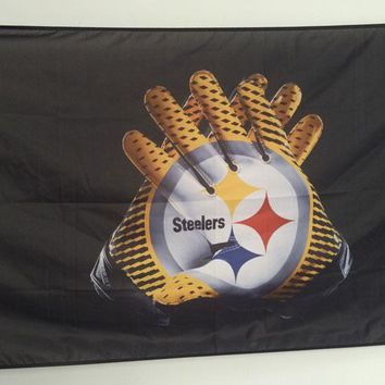 3x5FT Pittsburgh Steelers Gloves Flag 100D Polyester flying custom Football Flag 90x150cm with 2 grommets