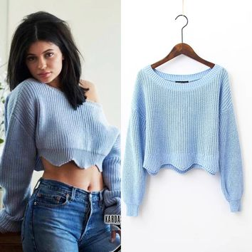 FW16 Strong Character Ladies High Waist Crop Top Sweater [8940805447]