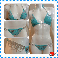 Swarovski Crystal Competition Bikini Swim Suit Mint Green Aqua Blue