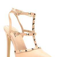 Nude Faux Leather Ankle Strap Studded Pointed Toe Heels