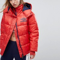 Umbro Padded Coat In High Shine Vinyl at asos.com