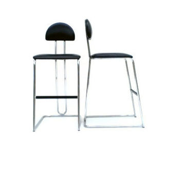 Vintage Lowenstein Bar Stool Set of Two Chrome and Black