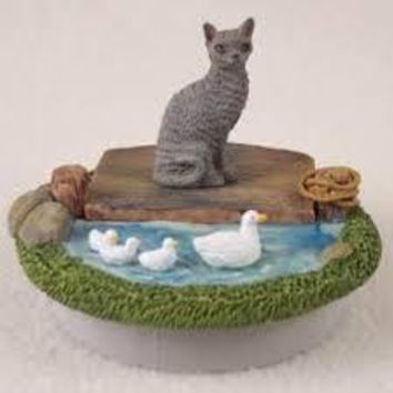 "BLUE CORNISH REX CANDLE TOPPER TINY ONE ""A DAY ON THE LAKE"""