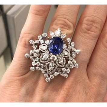 Museum 4CT Asscher Cut Blue Russian Lab Diamond Ring