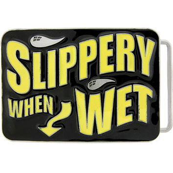 SLIPPERY WHEN WET Graffiti Belt Buckle