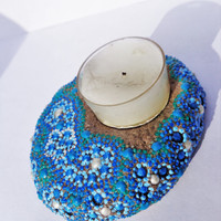 Blue tea light Artisan stone Painted stone Bohemian decor
