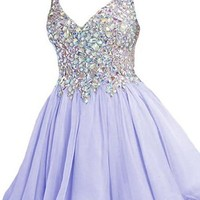 A Line Purple Homecoming Dress with Straps