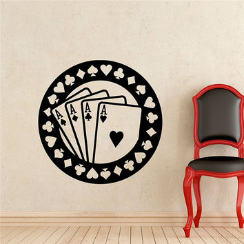 Poker Wall Decal Aces Casino Play Room Vinyl Sticker Holdem Cards Game Gaming Nursery Wall Art Removable Waterproof Mura M73