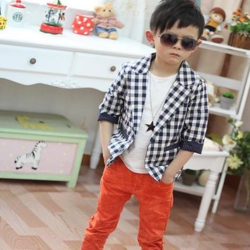 Cool Kids Toddlers Boys Plaid Check Dots Casual Suit Jacket Coat Costume 2-7Y