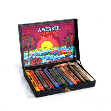 Antique Box of Crayons Castell Polychromo Drawing Chalks No. 9280