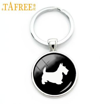 TAFREE Best friend cute Scottish Terrier key chain retro simple dog profile pattern keychain handmade lovely pet gift KC504