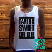 Taylor Swift or Die Men's White Cotton Solid Tank Top