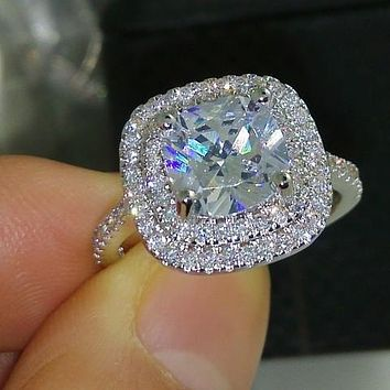 A perfect 3.4CT Cushion Cut Double Halo Russian Lab Diamond Engagement Ring