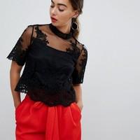 River Island Premium Lace High Neck Blouse at asos.com