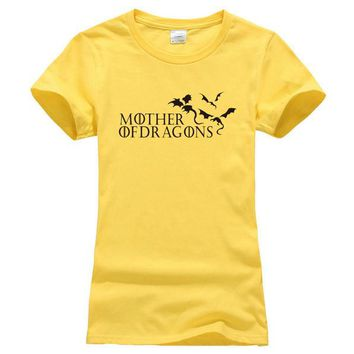 """Yellow and Black """"Mother of Dragons"""" Women's Game of Thrones cotton T-shirt"""