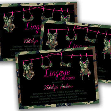 Camo Lingerie Shower Invitation - Bridal Lingerie Shower Invitations - Camouflage Lingerie Party Shower Invite - Bachelorette Pink Camo