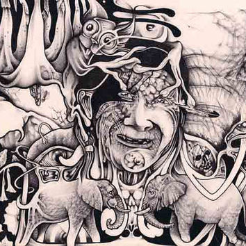 Psychedelic Art Surrealism Drawing with Ball Pen ORIGINAL Signed by Artist