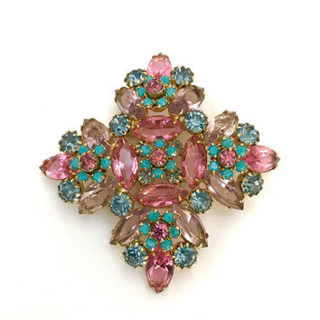 Juliana Maltese Cross Brooch, Lavender & Pink Marquis, Soft Blue and Opaque Turquoise Round Rhinestones, Gold Tone, Vintage Statement Pin