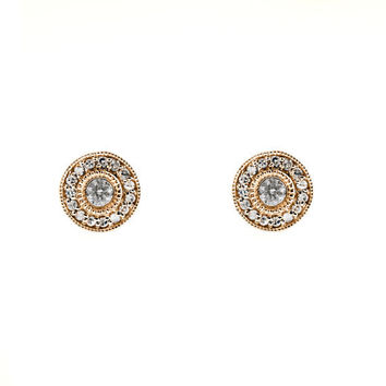 Vintage Style 14kt Rose Gold Diamond Stud Earrings by SarahNicolle