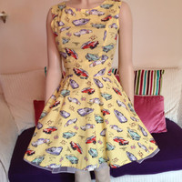 50's Style Vintage Cars Dress with Swing Skirt