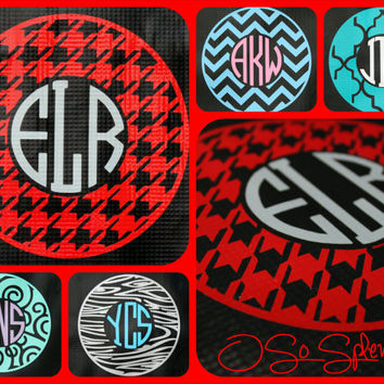 "35+ Colors To Choose from - 12"" Custom Circle Monogram Car Decal - Houndstooth Outer Circle - Personalized Sticker"